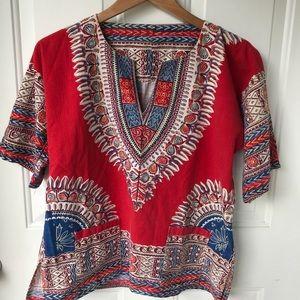 Vintage dashiki red blue  top